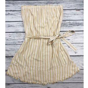 NEW Anthropologie Tie Waist Stripe Strapless Dress